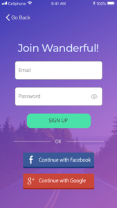 Mobile - Sign up screen